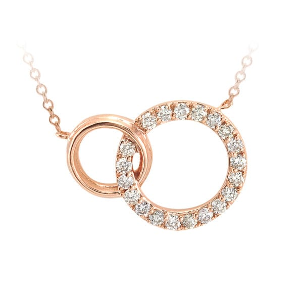 Rose Gold and Diamond Double Circle Necklace