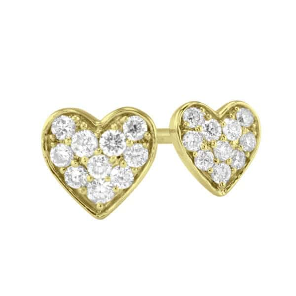 Gold Diamond Heart Earrings