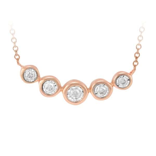 Rose Gold Bar Style Diamond Necklace