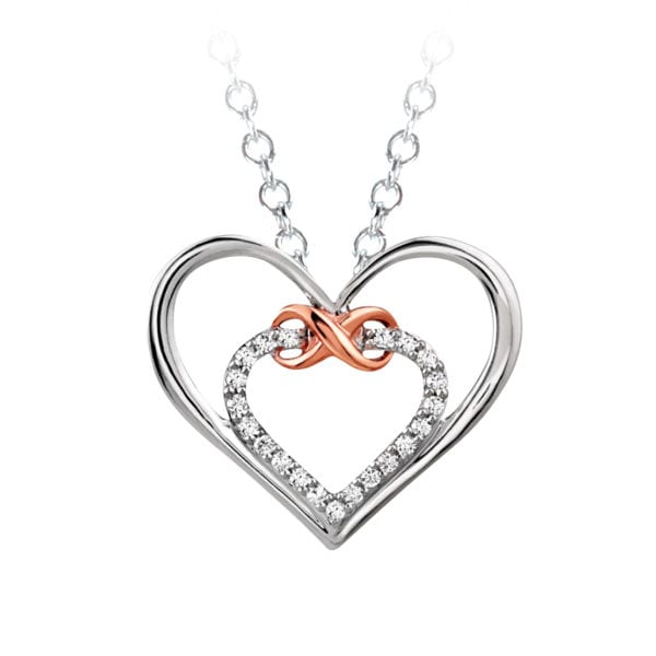 White and Rose Gold Infinity Heart Pendant