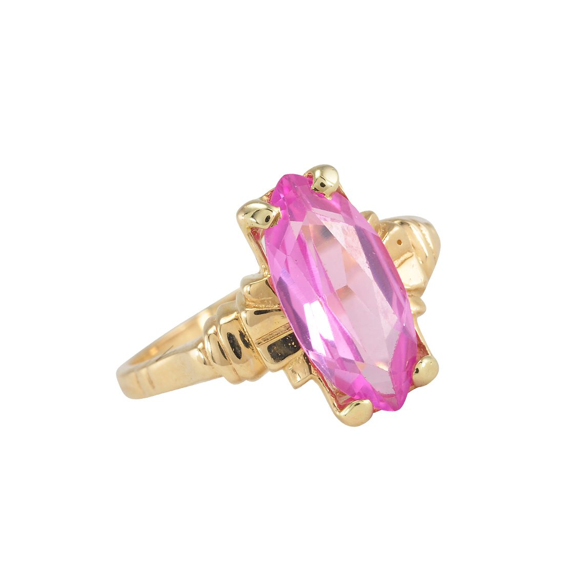 Gold Pink Stone Ring