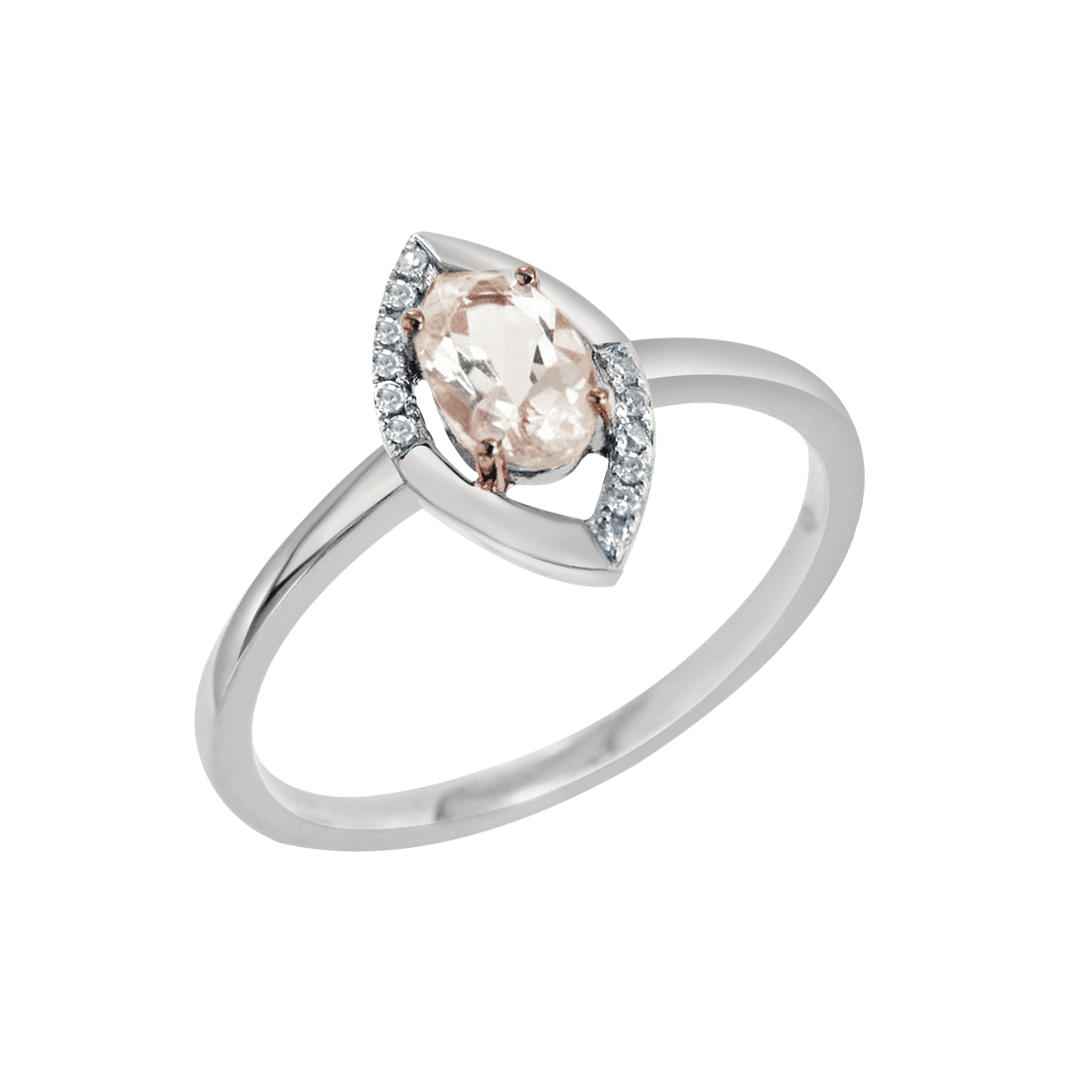 White and Rose Gold Marquise Shaped Diamond and Morganite Ring