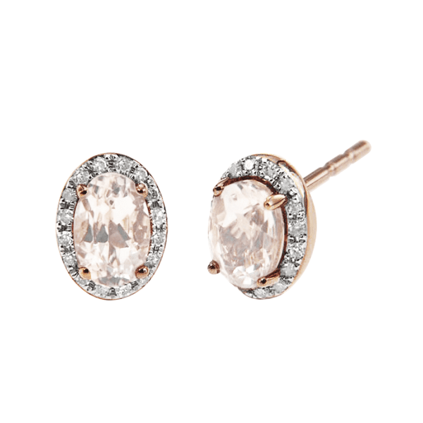 Rose Gold Morganite and Diamond Halo Stud Earrings
