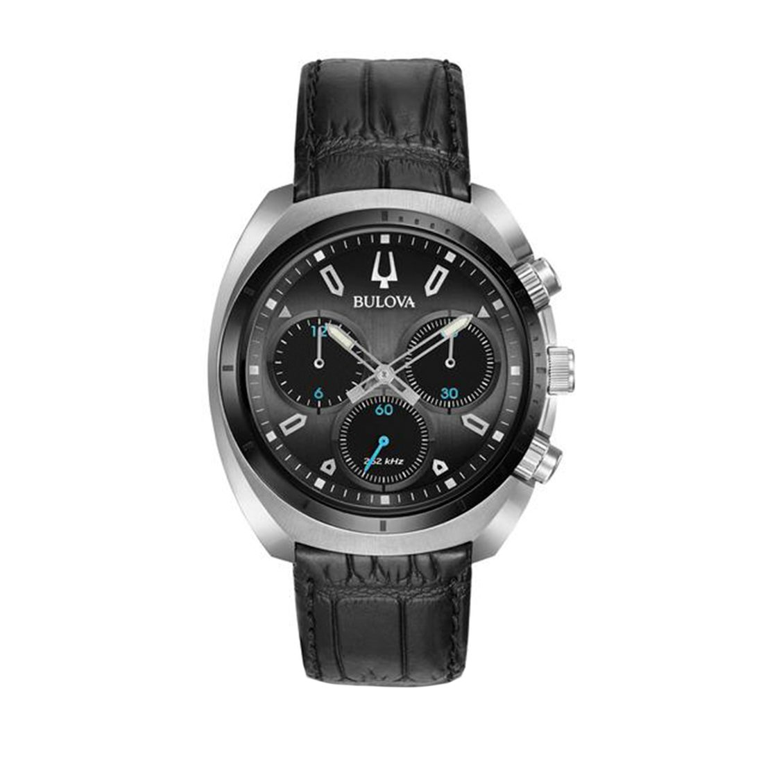 Men's Bulova chronograph watch, grey dial with blue accents and black leather strap