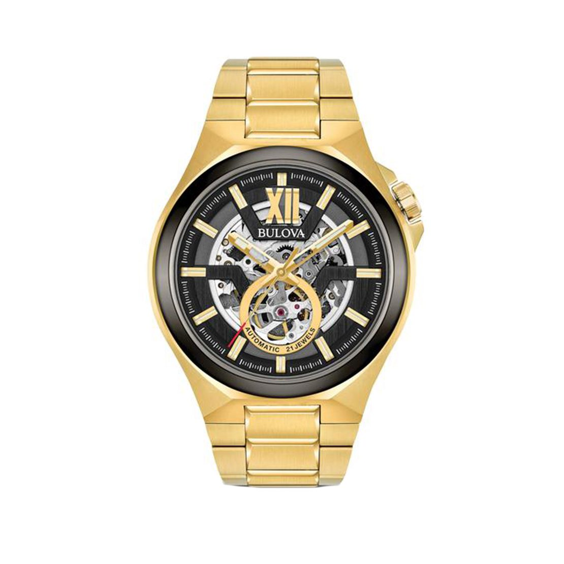 Men's Bulova sports automatic watch two-tone gold with gunmetal, stainless steel, black dial