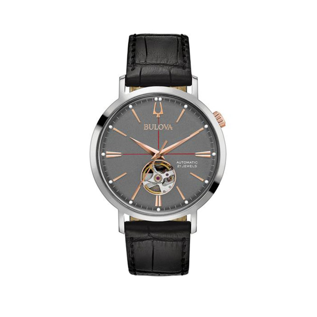 Men's Bulova grey and rose gold-tone automatic self-winding watch on black leather strap