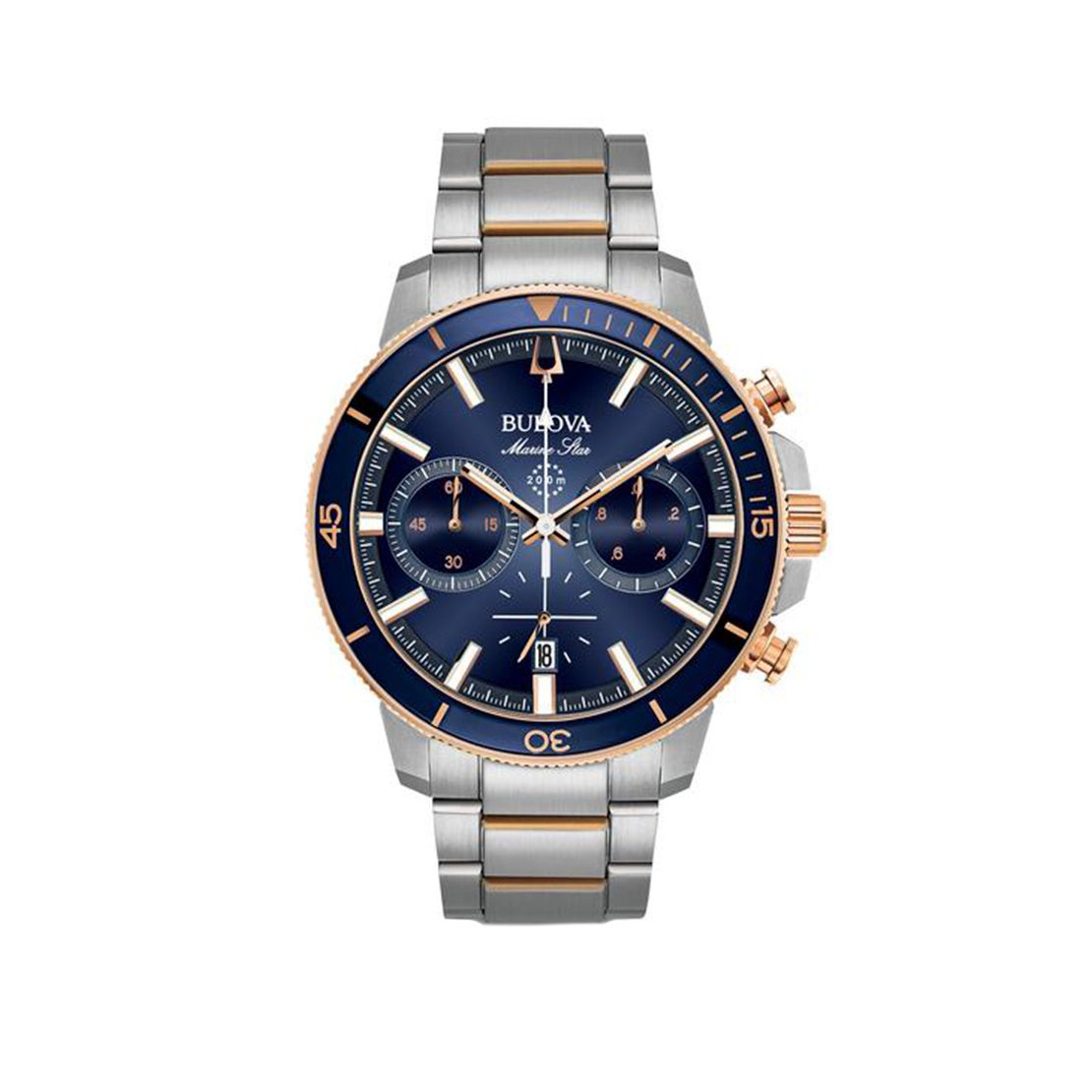 Men's Bulova chronograph watch, stainless steel with rose gold-tone accents and blue glass insert