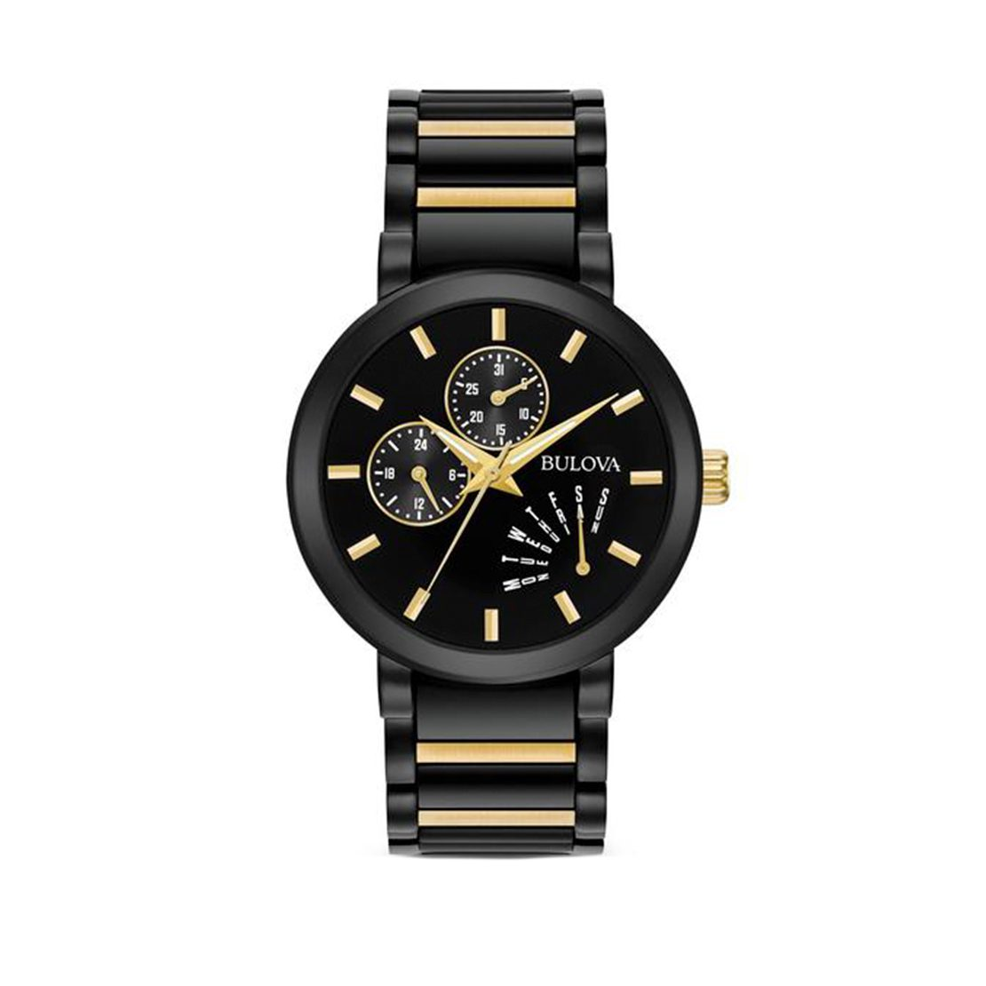 Men's Bulova Watch with black IP stainless steel case and black dial