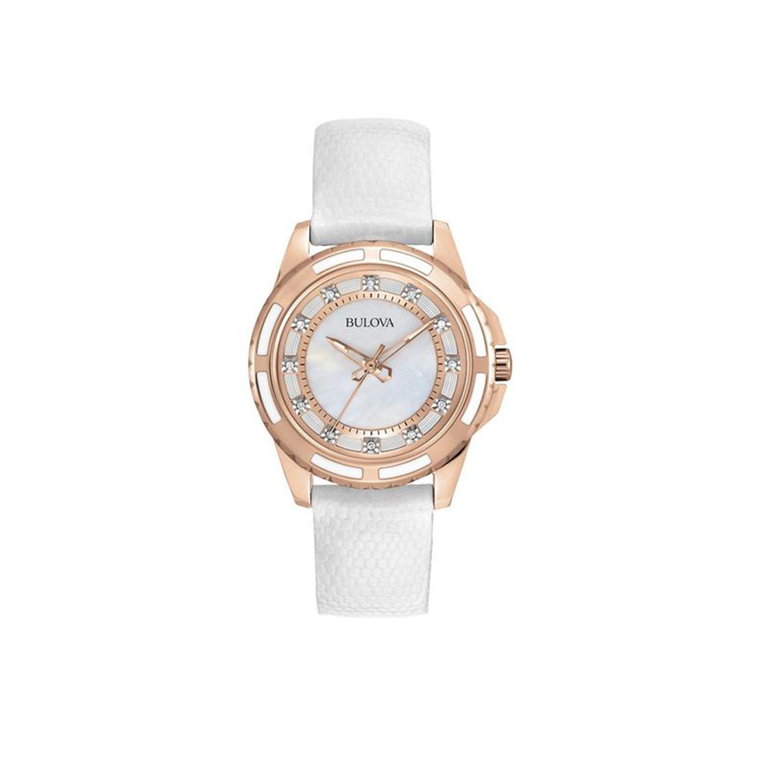 Women's Bulova watch with rose gold ion-plated finish and stainless steel