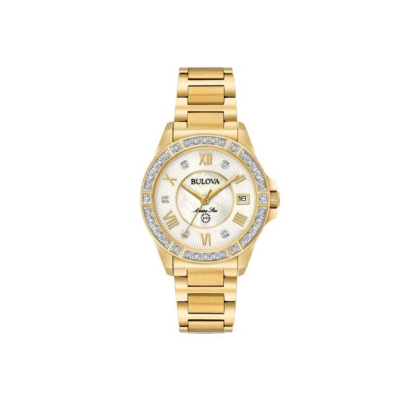 Women's Bulova gold-tone and diamond stainless steel watch with mother of pearl dial