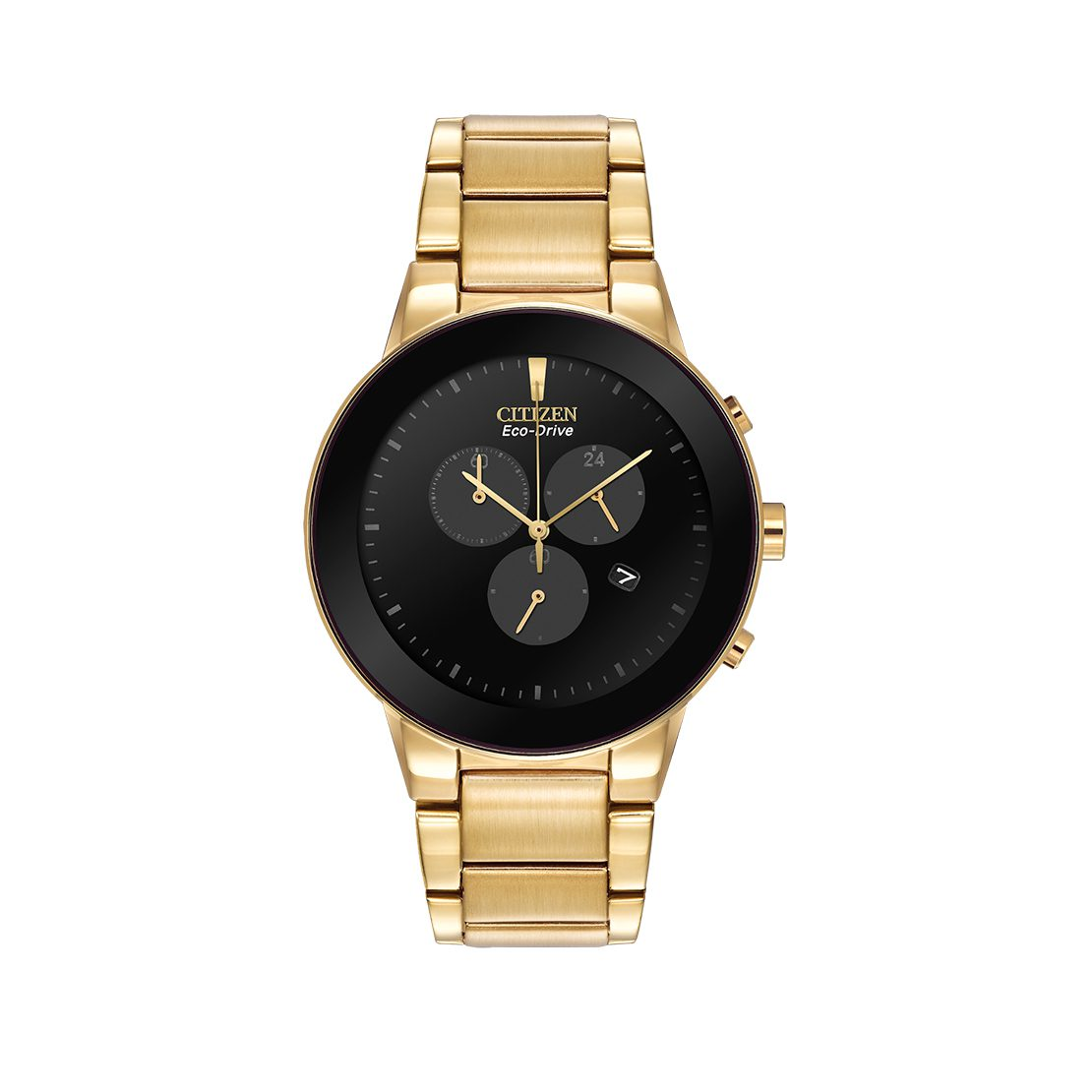 Men's Citizen Watch gold tone stainless steel with black dial