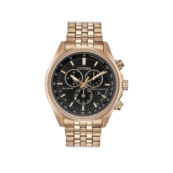 Men's Citizen Watch rose gold stainless steel with black dial.