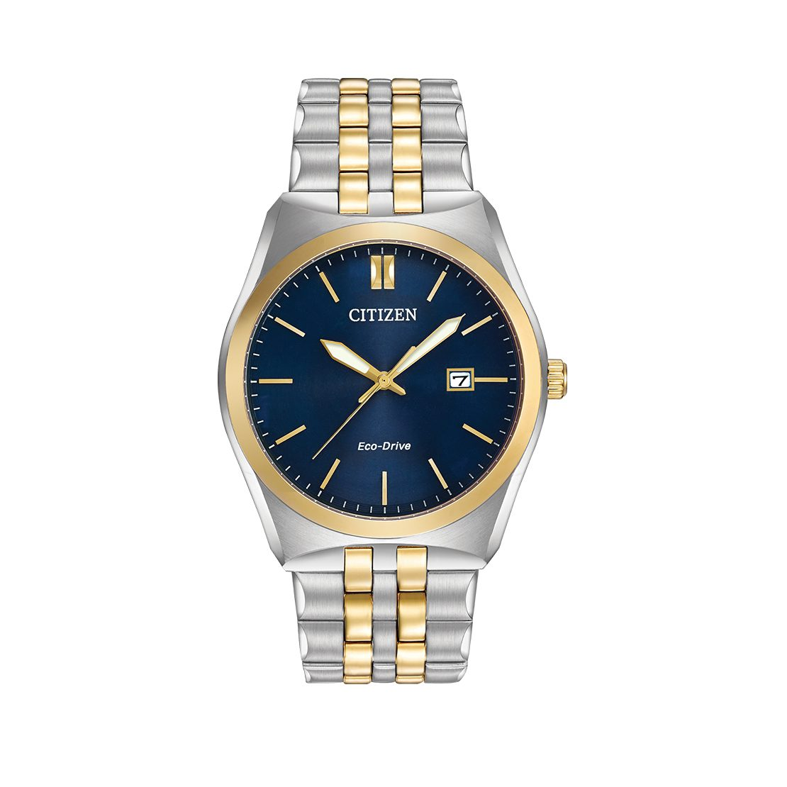 Men's Citizen Watch two-tone stainless steel with a deep blue dial