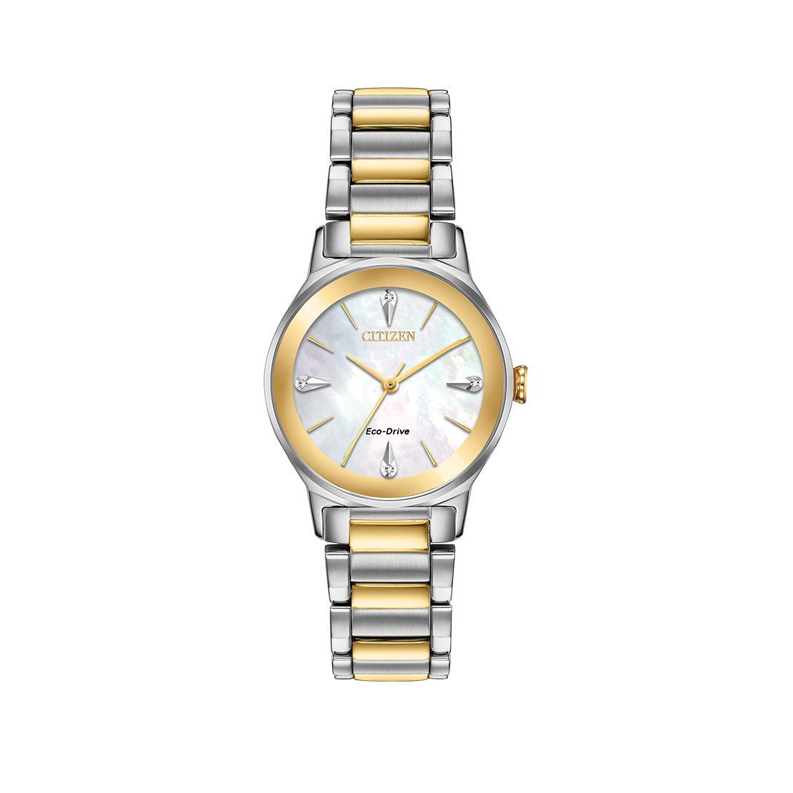 Women's Citizen Watch two-tone stainless steel case with Eco-Drive lithium ion battery
