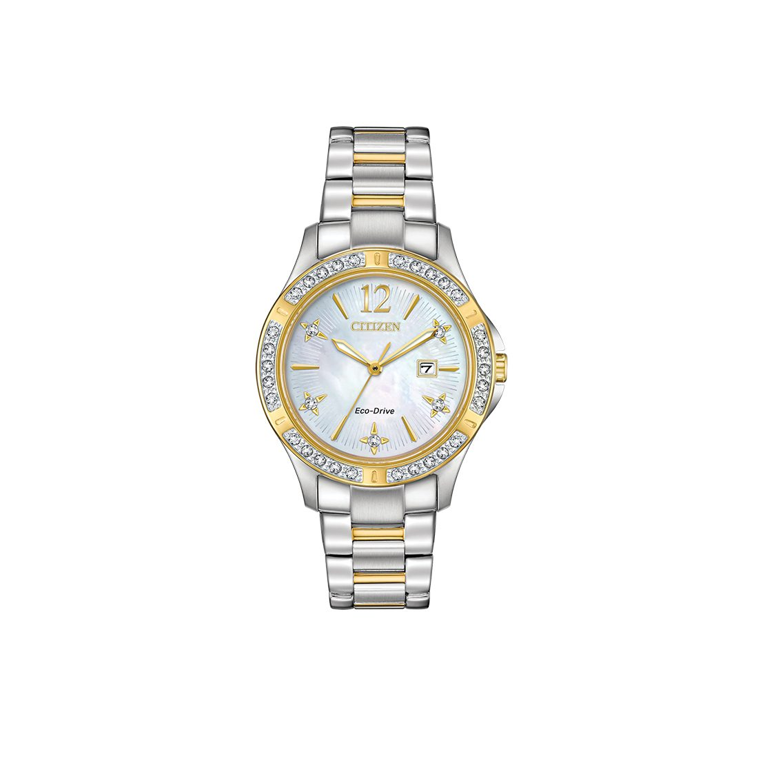 Stainless steel two-tone women's Citizen Watch with lithium ion battery and diamond accents
