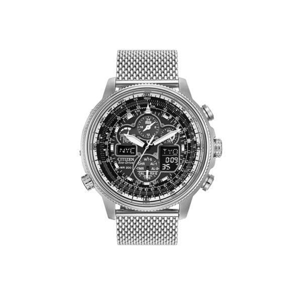Men's stainless steel Citizen calendar chronograph, radio-controlled watch