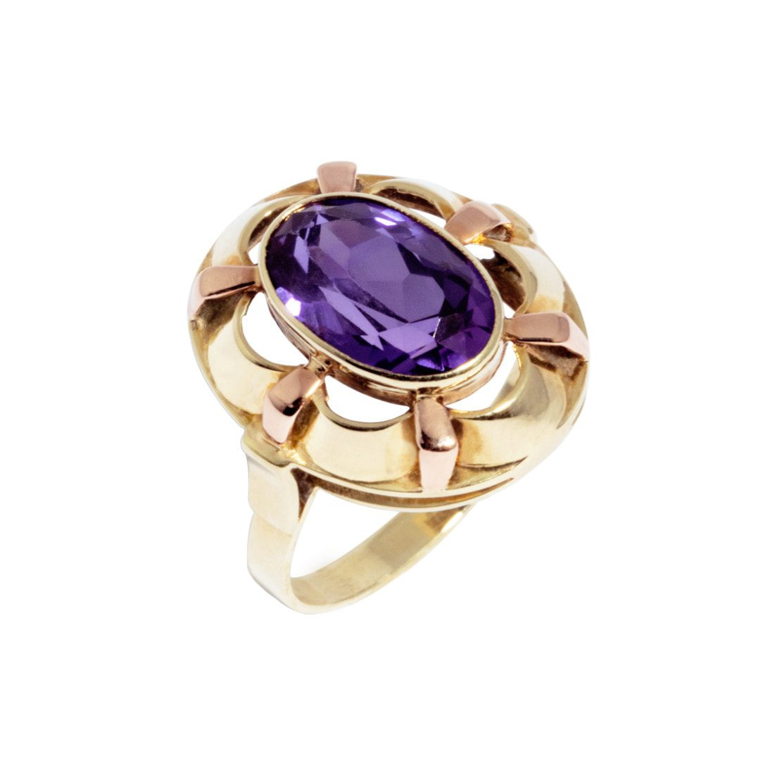 14 karat two tone gold ring with purple stone