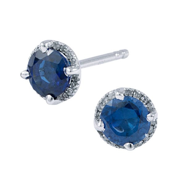 14 karat white gold diamond halo earrings with created blue sapphire centres
