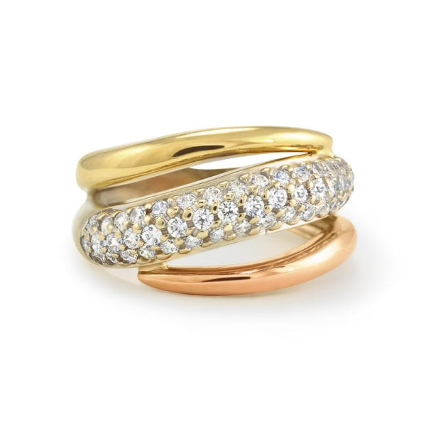 Gold and Cubic Zirconia Ring