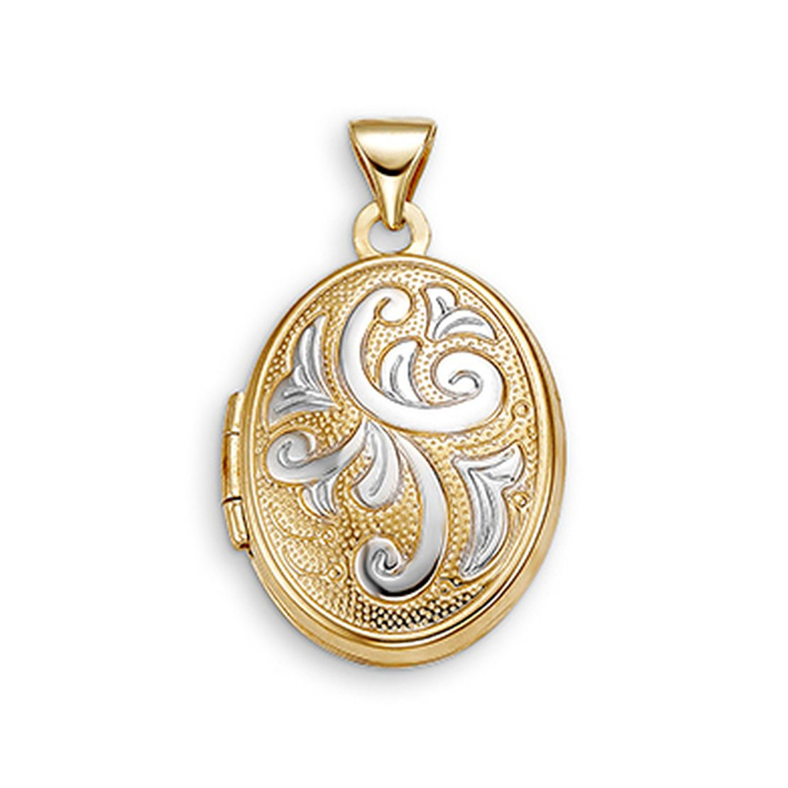 White and Yellow Gold Oval Locket