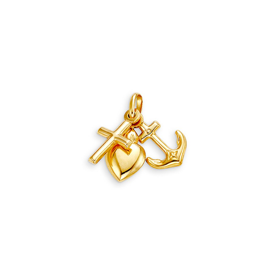 10k yellow gold faith, hope and charity charms