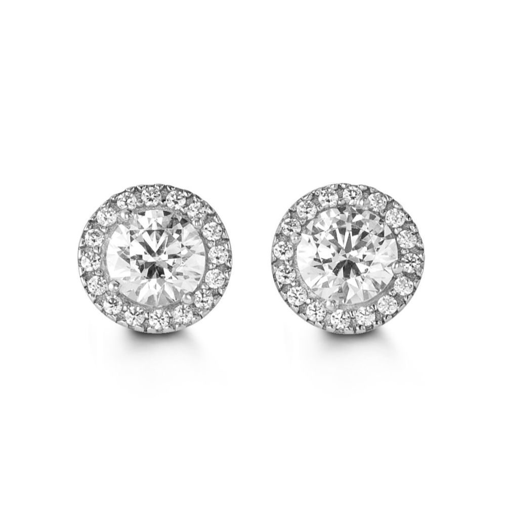 White Gold and Cubic Zirconia Stud Earrings