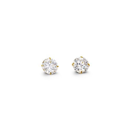 Yellow gold round brilliant cut cubic zirconia stud earrings