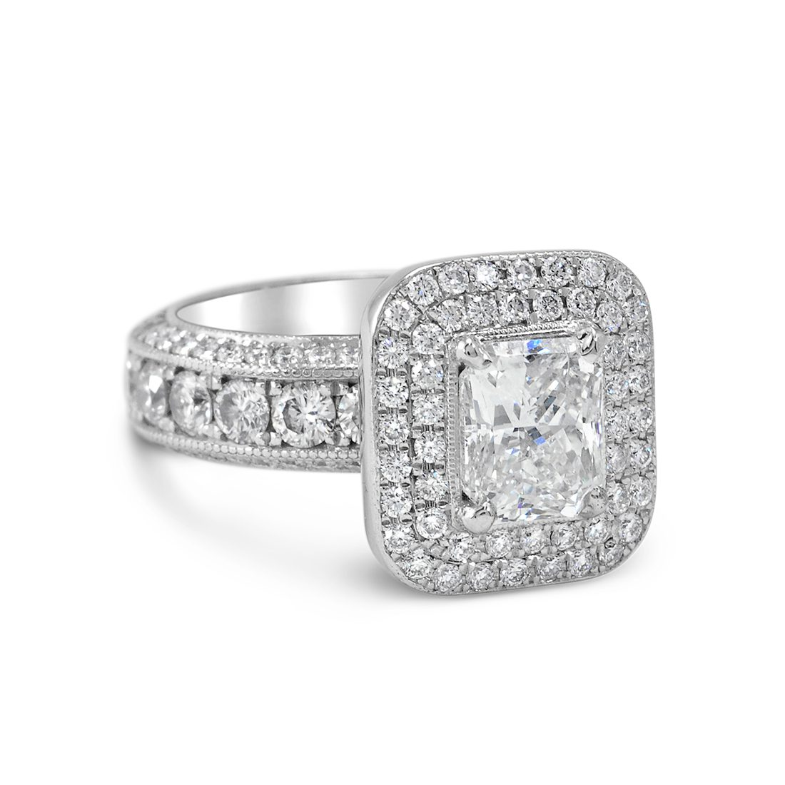 Radiant Cut Double Halo Diamond Ring