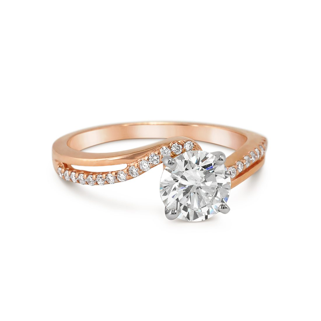 Curved Style Rose Gold Diamond Engagement Ring